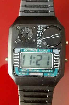 Reloj de pulsera radio AM watch Made Hong Kong vintage 1980s CONVOY QUARTZ new