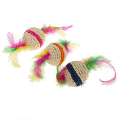 Pet Multicolor Cat Kitten Feather Sisal Rope Ball Rattle Scratcher Chew Toy