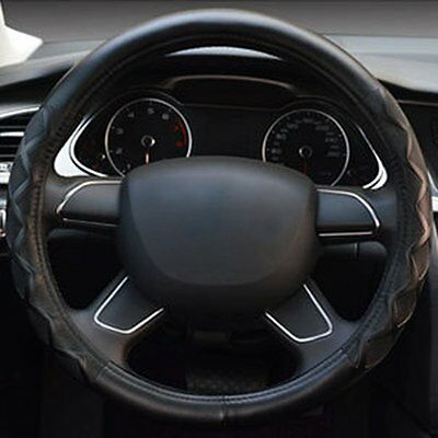 """Black Genuine Leather Car Auto Steering Wheel Cover 15"""" 38cm With Needles Thread"""