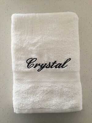 Personalised Name Embroidered White Bath Towel
