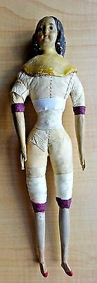 "Antique Papier Mache Milliners Model Doll Wood Arms & Legs 1800's 9 1/2"" Tall"