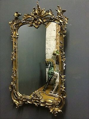 Exquisite Antique French Style Gilt Gold Floral Framed Large Wall Mirror.