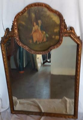 BEAUTIFUL Antique Solid Wood Wall Mirror - GORGEOUS PAINT DETAIL - VGC - 19th C