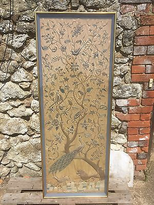 Antique French Silk Tapestry Framed And Glazed