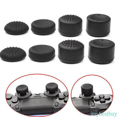 For PS4 Analog Controller 8pcs/set Black Silicone Thumb Stick Grip Cover Cap
