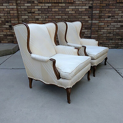 2 french country walnut wing back bergere arm chairs vtg provincial mid century