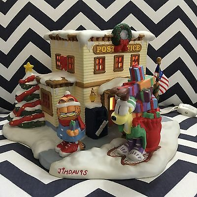 "Vintage Retired Danbury Mint Garfield Christmas Village ""The Post Office"" PAWS"