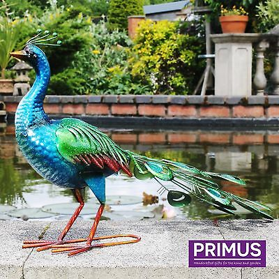 Primus Metal Vibrant Peacock Garden Outdoor Patio Ornament