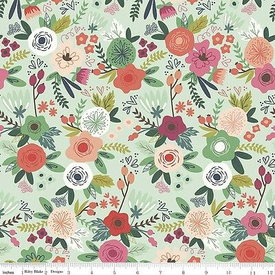 More 100/% Cotton Into the garden Feather Pink Riley Blake Fabric FQ 50cm X 55cm