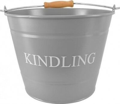 Manor Reproductions Fireside Kindling Carry Bucket Log/Coal Holder Small | Grey