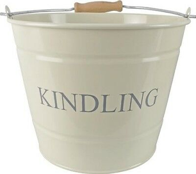 Manor Reproductions Fireside Kindling Carry Bucket Log/Coal Holder Small | Cream