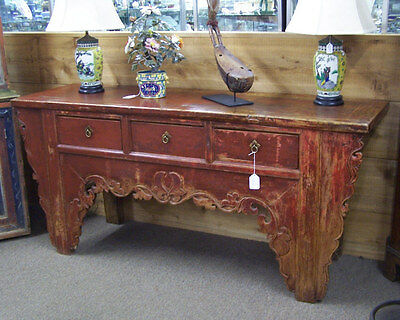 Antique Chinese sideboard server altar table original red paint c1800 3 drawers