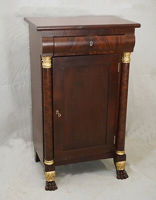 American Federal mahogany bedside night stand c1825 gilt carving front claw feet