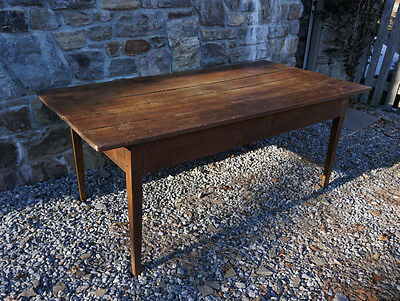 Antique New England farmhouse kitchen table solid cherry circa 1800 original