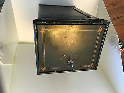 VIntage Iron Wall Safe With Key wooden slots inside Look