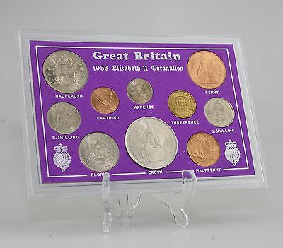 1953 Coronation Coin Set, Crown-Farthing 10 Coin Set within Presentation (JZ86)