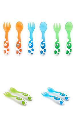 Pack of 6 BABY INFANT Munchkin Forks and Spoons - Multi-Coloured,