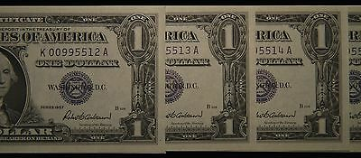 1957 5 - Consecutive Uncirculated One Dollar $1 Silver Certificate Notes