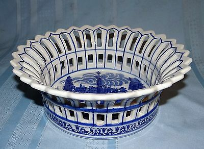 Vtg Victoria Ware Ironstone Flow Blue Style White Reticulated Bowl Basket