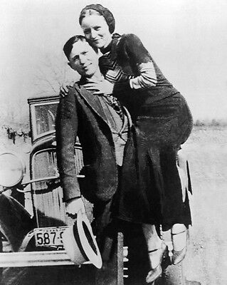 1933 Bank Robbers BONNIE and CLYDE Glossy 8x10 Photo Criminal Print Poster