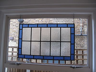1930s stained glass window blue & clear bobble glass -  73.5cm x 45.5cm