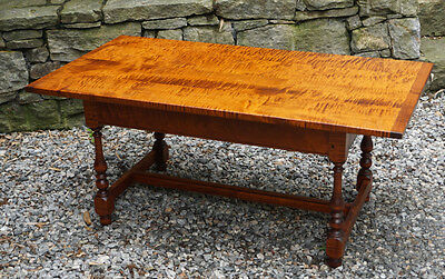 Vintage Eldred Wheeler tiger maple coffee table #0986.Tavern style c1980 H made