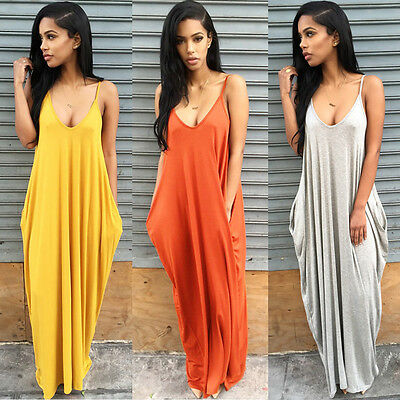 Boho Women V-neck Backless Strappy Sleeveless Loose Beach Long Maxi Dress Skirt