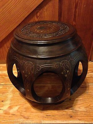 Asian furniture - Chinese or Japanese wooden drum shaped end table / stool