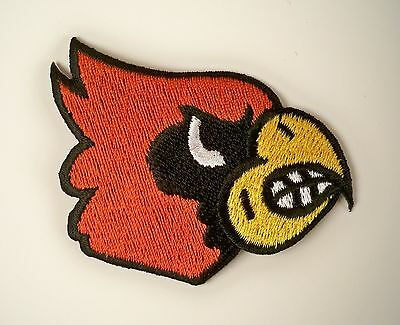 """Louisville Cardinals Vintage Embroidered Iron-On Patch Old Stock. 3"""" x 2"""""""