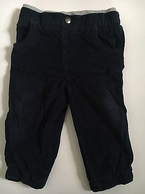 F&F Baby Boys Navy Blue Corduroy Trousers With Grey Marl Rib Waist,9-12 Month,GC