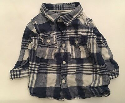 H&M L.o.g.g Baby Boys Linen Cotton Blue Check Shirt Top,2-4 Months,GC