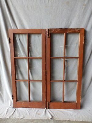 Antique Pair Casement Window Bookcase Cupboard Cabinet 6 Lite Door 42X18 199-17P