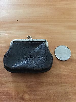 Antique vintage hand crafted leather coin purse