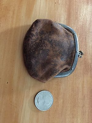 Triple frame clasp antique vintage leather coin purse