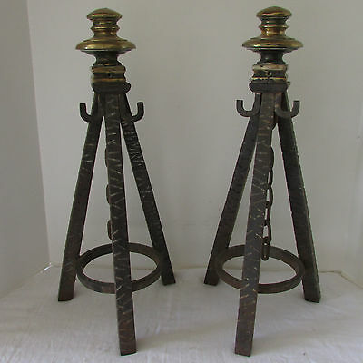 Vintage Pair Arts & Craft Mission Forged Iron & Brass Fireplace Tripod Andirons