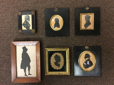 Lot Of 6 Fine English And American 19Th Century Gentleman And Lady Silhouettes