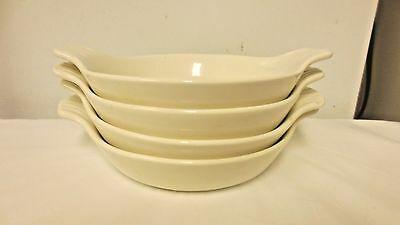 Lot 4 Older WP USA marked Small Handled White Casserole Bowls-Shell Look Handle