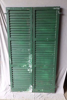 Pair Antique Window Wood Louvered Shutters Shabby Vtg Chic 72X20 202-17P