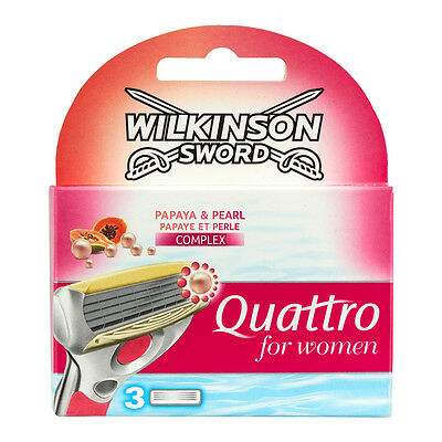 Wilkinson Sword Quattro for Women Rasierklingen 3 Stück) 100% Original)