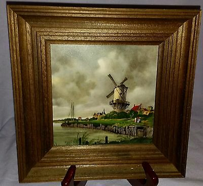 Vintage Framed Holland Mosa Tile In Shadowbox Frame