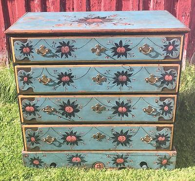 Norwegian Rosemaled Chest Of Drawers 1760-90s Floral Decorated Folk Art Norway