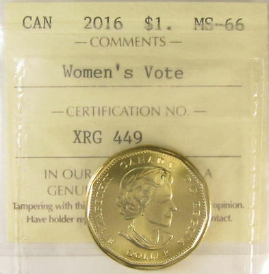 2016 Canadian One Dollar Coin ICCS Graded MS-66 Women's Vote