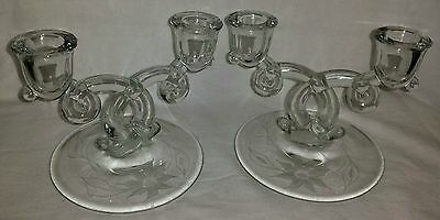 Vintage Pair Heisey Lariat Etched Floral Double Candlesticks