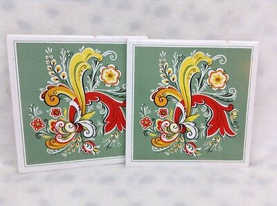Vintage 1970 Berggren Ceramic Trivet Tile FLORAL LOT OF 2