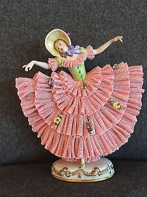 Vintage German Dresden Volkstedt China Lace Figurine Lady Applied Roses Dancer
