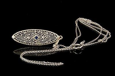 Vintage Art Deco Sapphire 14K White Gold Filigree Pendant Necklace  (042317065)