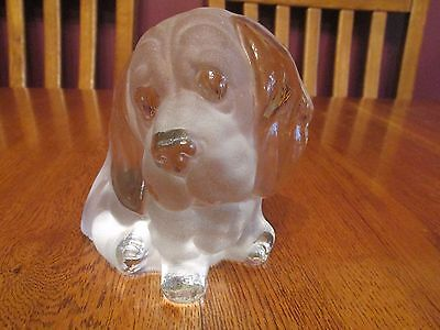 Cute Viking Glass Basset Hound Puppy Dog Frosted Glass Bookend Figurine