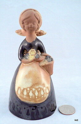 Vintage Figural Bell Girl Basket Flowers Pottery Stoneware Japan -Estate Find