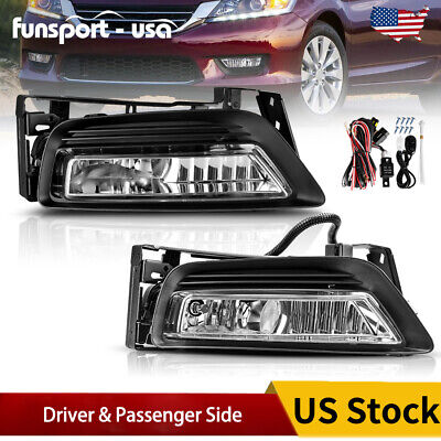 for 2013-2015 Honda Accord Sedan 4Dr Clear Bumper Fog Light Lamps+Bulbs w/Switch