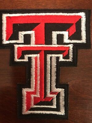 """TT Texas Tech Red Raiders Vintage Embroidered Iron On Patch NOS) 3"""" x  4"""""""